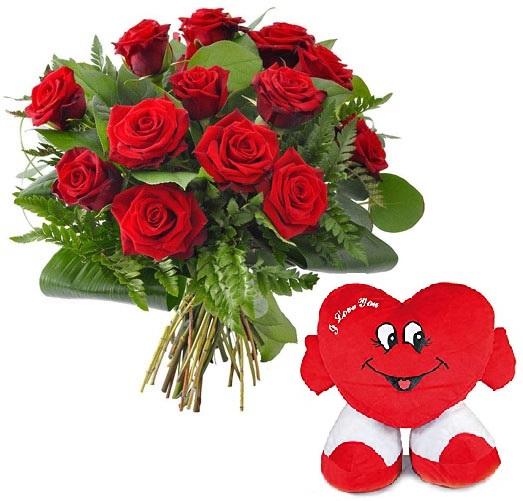 Ramo 12 Rosas y Peluche Corazón