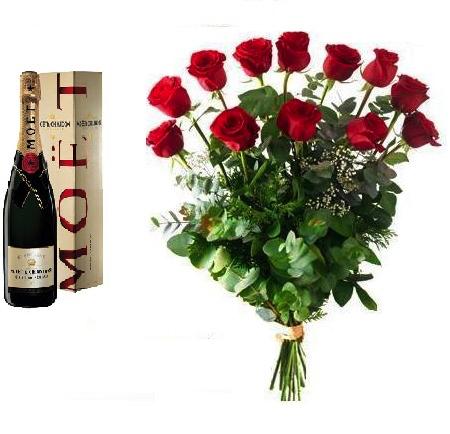 Rosas Rojas y Moet Chandon