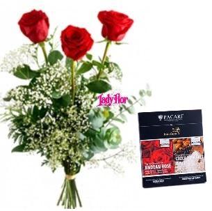 3 rosas y chocolates orgánicos Rosas y  Cuzco